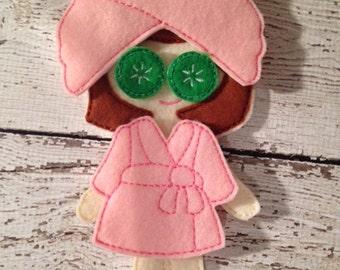 Felt Doll dress up Day at the spa set, felt doll clothes