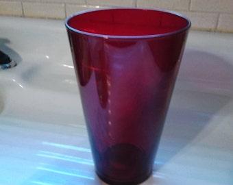 Vintage Ruby Red Flash Glass Large Flower Vase