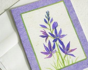 Blue Camas Flower Card, Blue Wildflower Botanical Art Card, Blank Greeting