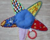Crackle Cloth Sensory Toy, Red, Yellow and Blue Starfish Plush for Baby Boy, Flannel and Fleece Lovey / Blankie with Teething Grip Ring
