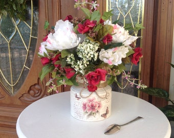 CLEARANCE Silk Flower Centerpiece, Faux Flower Arrangement, Home Decor Centerpiece, Rustic Wedding, Wedding Centerpiece