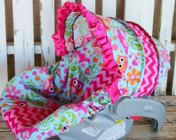 Baby Girl Infant Car Seats: Owls And Pink Chevron Infant Car Seat Cover By