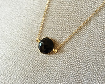 Black round shaped pendant necklace, 14K gold filled, delicate and gorgeous