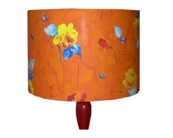 Bright Orange Floral Lampshade, Red Orange Yellow Flowers, Rainbow Colour Drum lamp Shade, Detola and Geek, Cottage Boho Chic