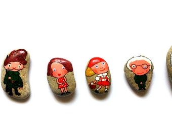 """Story stones """"Little Red Riding Hood"""". Great for parent-child quality time. Sea stones from E-stonia"""