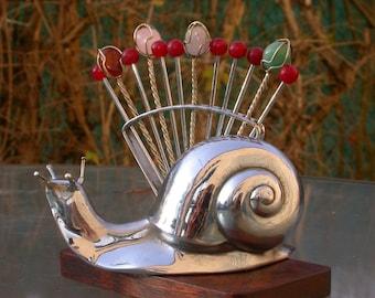 vintage art deco Style snail silver sculpture  Retro Cocktail Hors d'oeuvre Forks Picks gemstone pink quartz amethyst jade agate gold brass