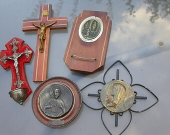 10pcs French antique 19th century crucifix pocket prayer Reliquary holy water fony Jesus religious sacred heart virgin mary church miniature