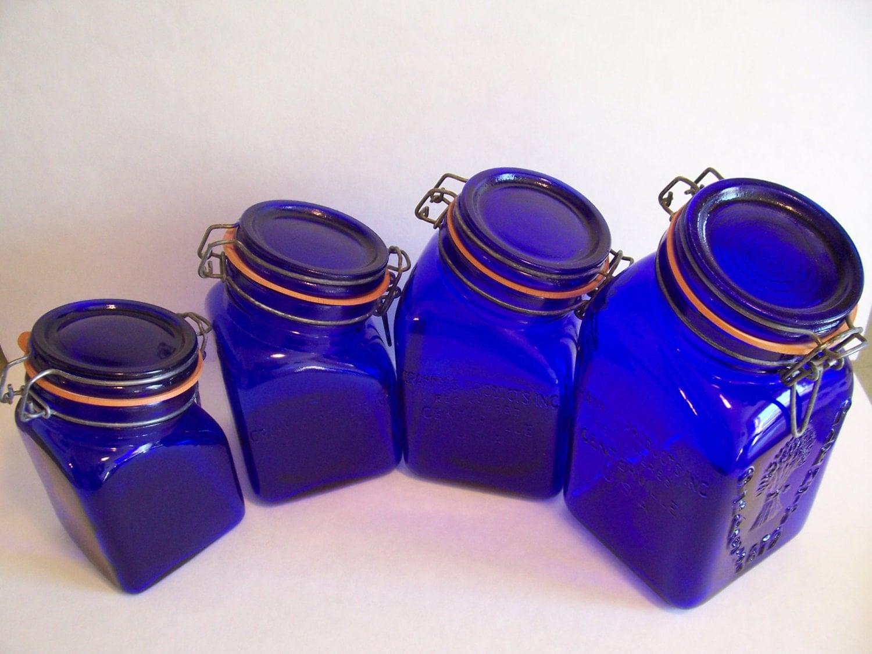 Vintage cobalt blue glass kitchen canister set granny 39 s for Glass bathroom canisters