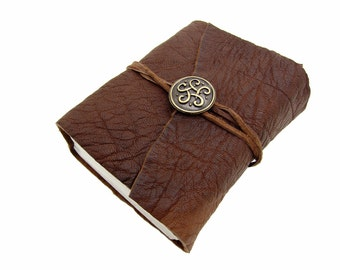Leather book Terra celtic knot gold Buffalo Leather - diary, journal, notebook or travel diary