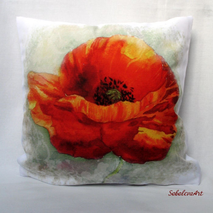 Red Poppy Decorative Pillow : Decorative Pillow Red Poppy Throw Pillow Poppy by SobolevaArt