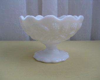Vintage Mid Century Berries White Milk Glass Compote Sherbet