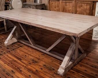 White Wash Pine Trestle Table