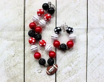 girls football chunky bead necklace and bracelet set black and red bubblegum bead necklace matching bracelet set toddler Atlanta Falcons