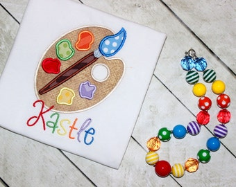 Art palette Birthday chunky bead necklace rainbow artist palette Birthday bubblegum bead necklace girls necklace rainbow polka dot chunky