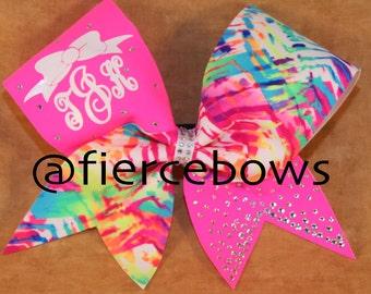 Neon Rhinestone Monogram Cheer Bow