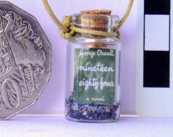 1984 Orwell Book in a Bottle Necklace