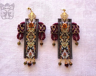 Earrings Russian style braid, hand embroidered, Czech glass beads, Swarovski crystals, antique gold, silver, bronze