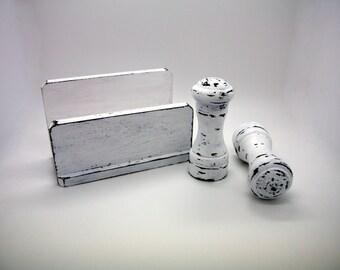 Distressed Napkin Holder & Salt and Pepper Shakers -Black and White Kitchen Decor -Shabby Chic