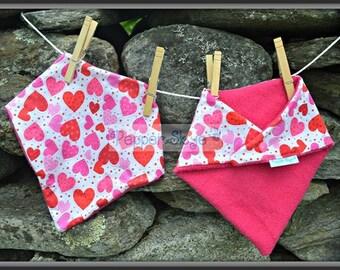 Pink Hearts Bandanna Baby Bib