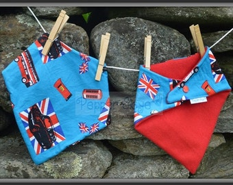 Union Jack & Mini Coopers Bandanna Baby Bib