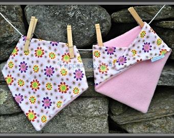 Colorful Flowers on White Bandanna Baby Bib