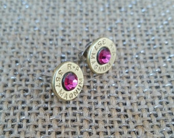 Hot pink bullet earrings nickel free many caliber options. Bullet Jewelry.