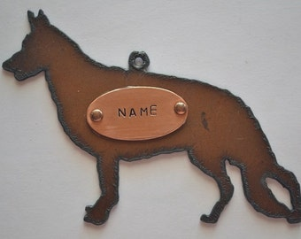 Rustic Rusty Rusted Recycled Metal CUSTOM Personalized Hand Stamped GERMAN SHEPHERD Ornament or Magnet