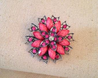 Pink and Silver Flower Brooch with Rhinestones