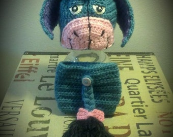 Crochet Sad Donkey Hat and Diaper Cover Set