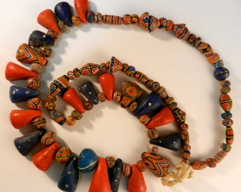 """Early 1900's Vintage Collector's Strand Of Original Authentic Mauritanian Hand Made Polychrome Glass Kiffa Beads 29"""""""