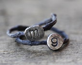 Rustic Patina Initial Twig Ring, Sterling Silver Twig Ring, Monogram Sterling Silver Ring, Oxidized Custom Twig Ring, Personalized Letter
