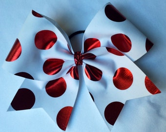 Cheer Bow - White with Red Polka Dots