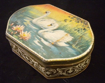 Vintage 1930s Tin Box Made in France Swans and Lily pads