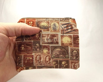 Stamp wallet, stamp clutch, old stamps, 2 cent stamps, rust red orange, postage bag, postal zipper pouch, stamp purse, stamp coin pouch,