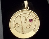14k Solid Gold Aries Zodiac Talisman Good Luck Astrology Pendant/Charm with Ruby