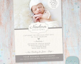 Photography Marketing Board - Newborn Mini Sessions Photoshop Template - IN001- INSTANT DOWNLOAD