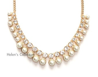 Pearl and Rhinestone Necklace Pearl Necklace Bib Necklace Bridal Necklace