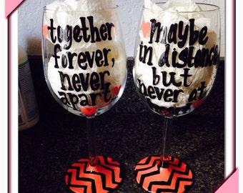 Best friend bff wine glass set for life-- BFF for life - Chevron- Set of 2 wine glasses for BFF- Distance Glasses- Bridesmaids- Wedding- Mai