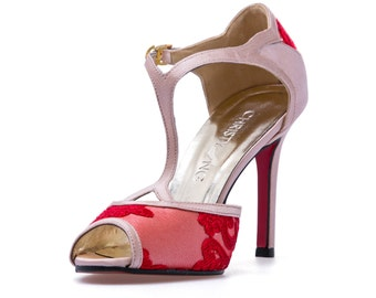 Miss Fortune, Red Lace Shoes,Red LaceHeels,Red Satin Lace Wedding Shoes, Red T-Bar High Heels