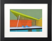 Mid Century Modern Eames Retro  Print from Original Painting Colorful Architecture