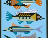 Mid Century Modern Eames Retro Limited Edition Print from Original Painting Four Abstract Fish
