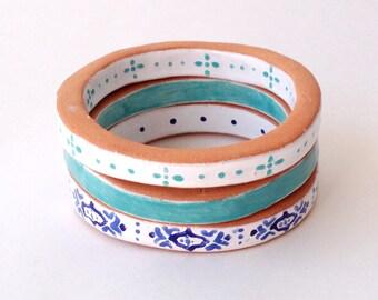 1 Bangle Bracelet, Terra Cotta, Clay, Jewelry, White, Turquoise, Blue, Romantic, Rustic, Boho, Folk, Bracelet, Nordic, Spanish, Ethnic