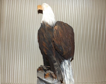 Vintage Chainsaw Carved Eagle Sculture Rustic Log Home Cabin Decor