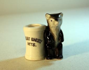Adorable Great Smoky Mountains toothpick holder-souvenir bear with trash can-retro kitchen decor-collectible