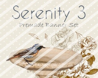 """Banner Set - Shop banner set - Premade Banner Set - Graphic Banners - Facebook Cover - Avatars - Bisiness Card - """"Serenity 3"""""""