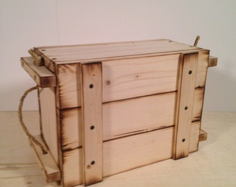 Wooden Crate Military Style with Burnt Edges and Braided Rope Handles Box