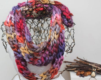 Chunky Knit Fashion Scarf KA Botany Exclusive Skinny Scarf Variegated Womans Skinny Scarf Chunky 8+ Feet Long Scarf Ready to Ship