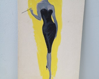 1960's Chic, watercolor, fashion illustration, hand painted elegant women with cigarette holder