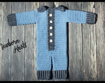 CROCHET PATTERN For Boys or Girls Textured Button Up Onesie. Pattern number 055. Instant Download