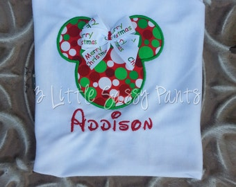Minnie Mouse Christmas Shirt- Red and Green Dots- Minnie Applique Shirt- Disney- Custom- Vacation- Christmas Shirt